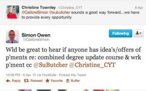 Tweet between @CalibreSimon and @Christine_CYT
