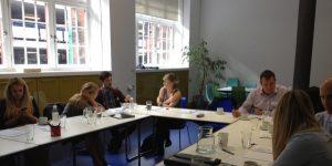 Glasgow Linkedin Training Workshop - trainees break for a chat